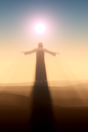 antique jesus: Silhouette of a man in a fog.