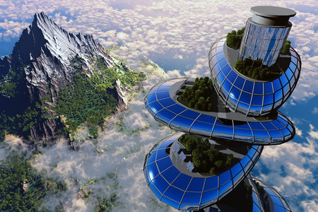 Home of the future against the background of the mountains. 스톡 콘텐츠