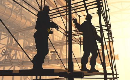 travailleur: Silhouette d'un travailleur � l'usine. Banque d'images