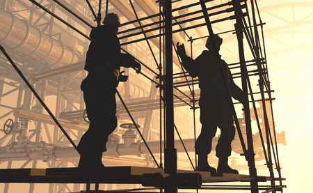 trabajador petroleros: Silueta de trabajador de la planta. Foto de archivo
