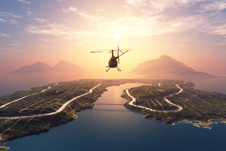 Civiele helikopter op de achtergrond een landschap