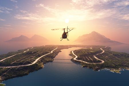 volar: Helicóptero civil sobre un fondo de un paisaje Foto de archivo