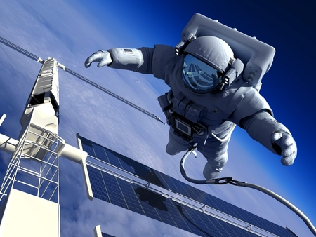 space shuttle: Astronaut in space around the solar battarei. Stock Photo