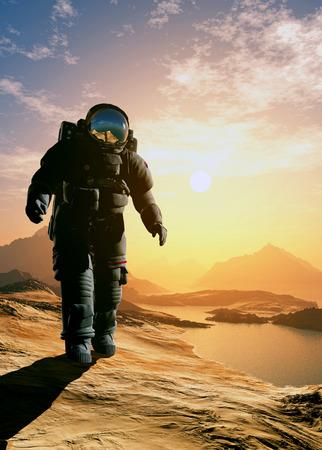 Astronaut moves around the planet Stock Photo