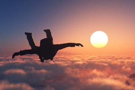 Parashutist against the evening sky 스톡 콘텐츠