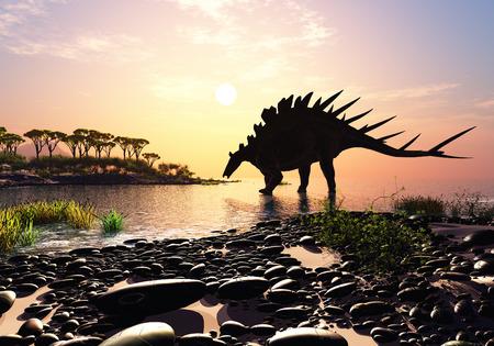 dinosauro: Dinosaur sulla riva dell'isola.