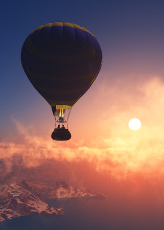 releasing: Balloon against the evening sky