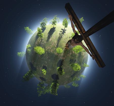 kruzifix: Kruzifix auf einem gr�nen Planeten.