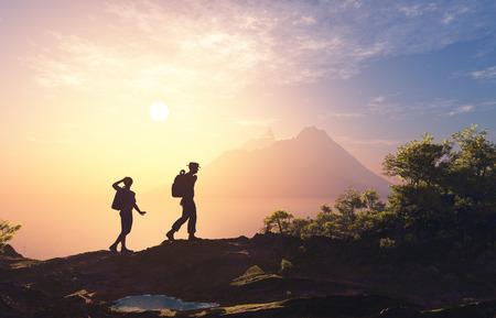 alone: Silueta de personas cerca de la montaña. Foto de archivo