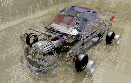 Disassembled car on the background of the drawing.