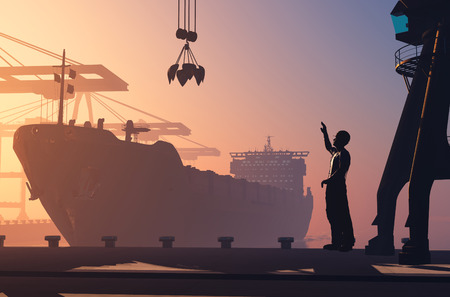 marine industry: Silhouette tanker and working in the port