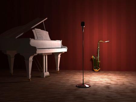 piano: La Real y el saxo en el escenario. Foto de archivo