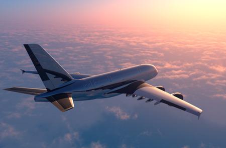 Avión de pasajeros sobre las nubes. Foto de archivo