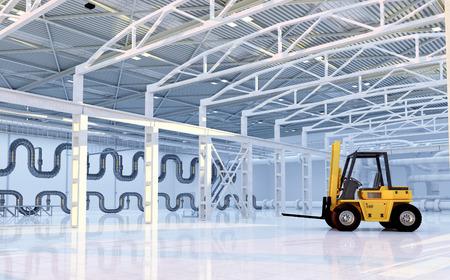 hangar: Truck in empty hangar.