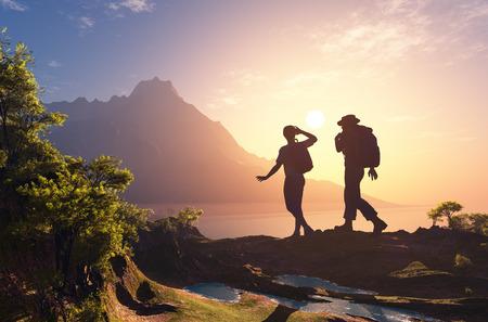 Silhouette d'un groupe de personnes sur l'herbe. Banque d'images - 41088292