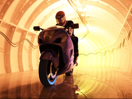 motor racing: Silhouette of motorcyclist in the tunnels.