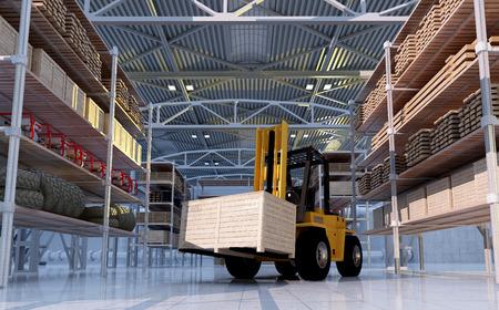 edificio industrial: Camión de carga en el almacén.