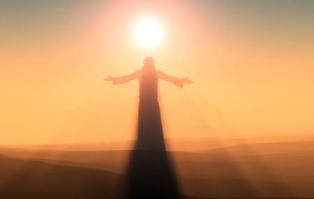 hombre orando: Silueta de un hombre en una niebla.