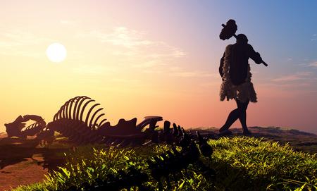 원시인과 공룡 골격 스톡 콘텐츠