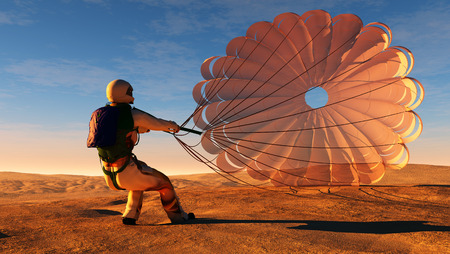 pirouette: Parashutist a parachute in the sky.
