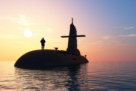 Submarine contro il cielo della sera. Archivio Fotografico