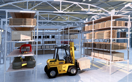 factory floor: Forklift among the materials in the hangar. Stock Photo