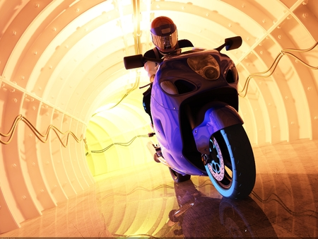 bicycle race: Silhouette of motorcyclist in the tunnels.