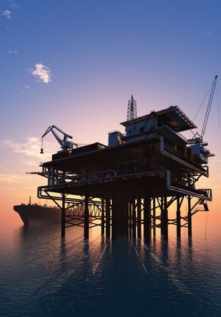 drilling platform: Oil production into the sea from above.