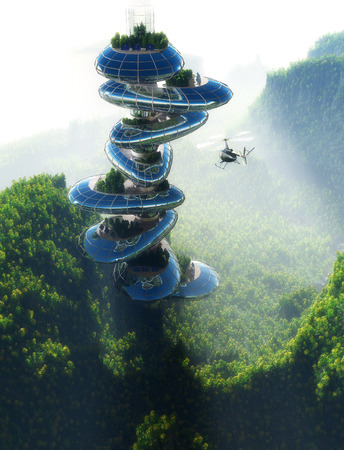 ocean water: Houses of the future in the forest. Stock Photo