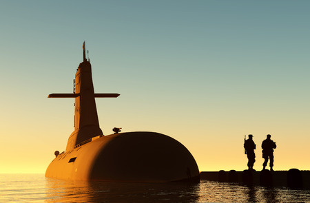 immersion: Submarine against the evening sky.