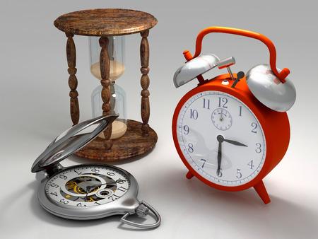 orologi antichi: Diversi tipi di ore su un grigio.