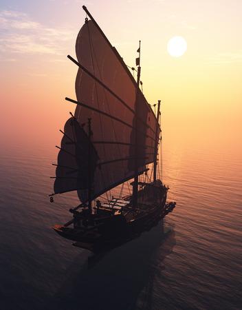 crankshaft: Old boat with sails on a colorful crankshaft.