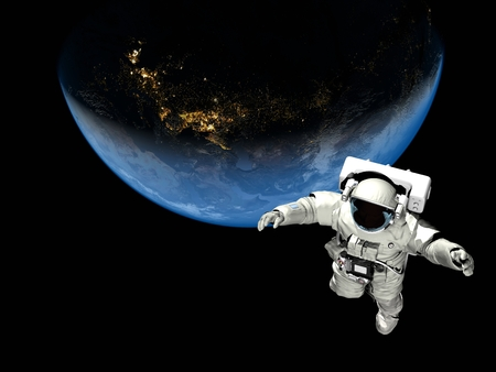 astronauta: Astronauta volando sobre el planeta.