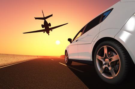 Auto en vliegtuig op de weg.