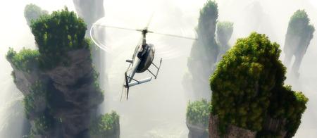 civilian: Civilian helicopter on a   landscape