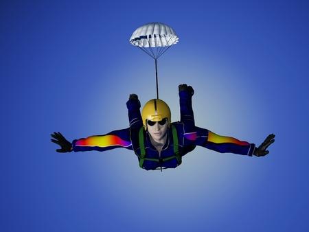 air jump: Parashutist  in the sky. Stock Photo