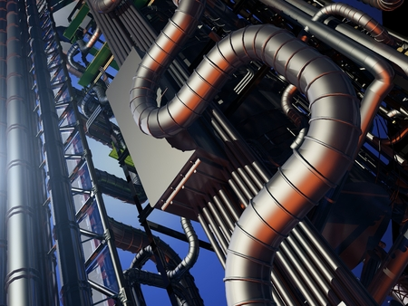 distill: Tubes of factory in the sky. Stock Photo