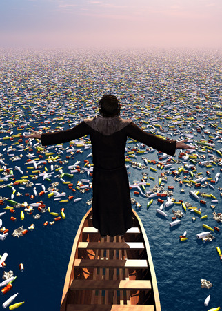 holy angel: The priest in a boat among the debris. Stock Photo