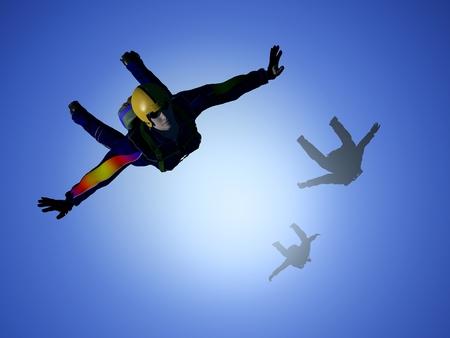 plane: Parashutist against the blue sky.