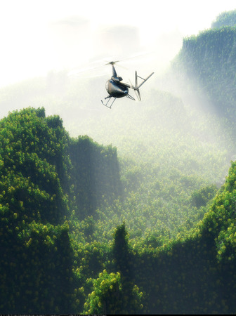 helicopter rescue: Civilian helicopter on a   landscape