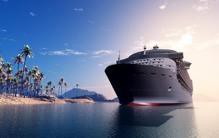 ocean liner: A modern liner  is in an ocean Stock Photo