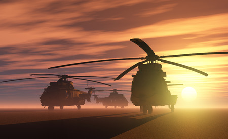 A group of military helicopters. Stock fotó - 43846528