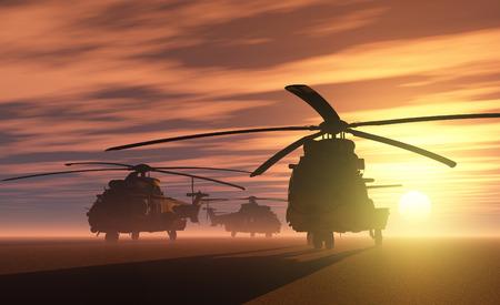 Un groupe d'hélicoptères militaires. Banque d'images - 43846528