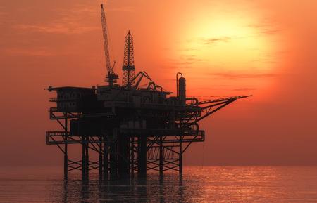 huile: Oil Rig à tard le soir Banque d'images