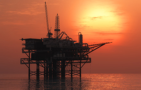 drilling well: Oil Rig at late evening
