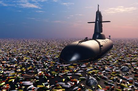 wojenne: Podmorskich w śmieciach. Zdjęcie Seryjne