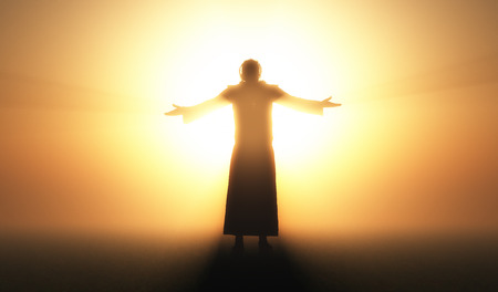 man praying: Silhouette of a man in a fog.