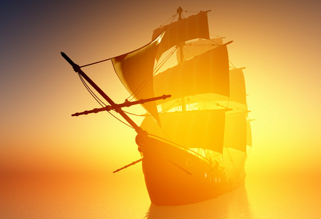 merchant: Old ship with sails in the mist.