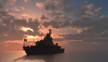 Le navire militaire dans la mer. Banque d'images - 44656975
