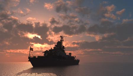Wojskowych statku na morzu